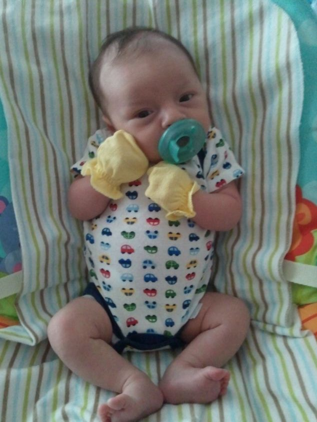 8.22.11 ~ the bouncy seat in those beginning weeks was his fav place to hang out and of course, paci has been his bestie from the beginning