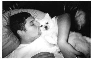 daddy and timber snuggling 2003