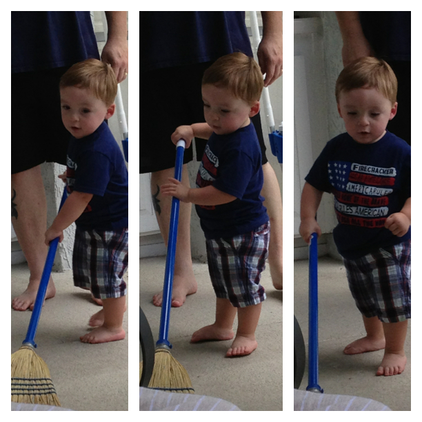 "While Daddy was grilling, Liam wanted to ""help"" clean up...too cute not to share."