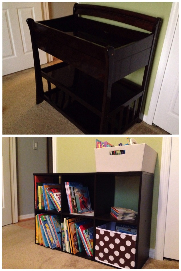 We quickly got rid of the changing table and gave little man a nice, new bookshelf!