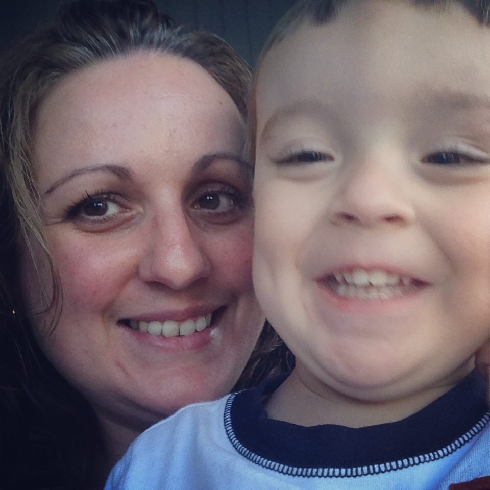 6/4/14 -- quick selfie to show how excited we were on swim test day -- NOT so excited once he actually got into the pool, but he did AWESOME!