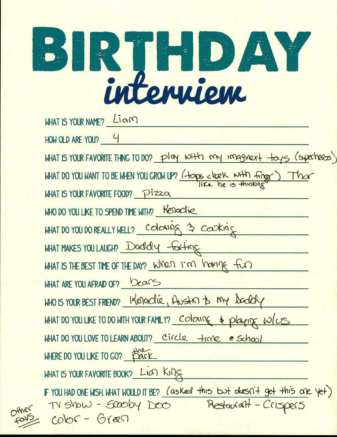 Birthday Interview_Age 4