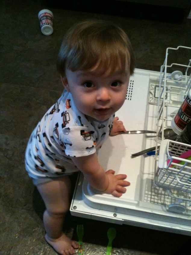 2012-09-29_1st Pullling to Stand on Dishwasher